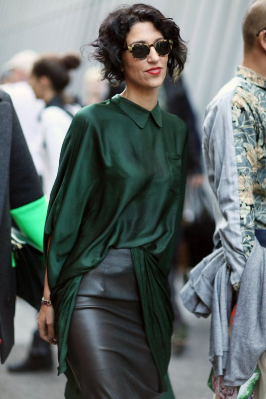 Paris-Fashion-Week-Street-Style-Spring-2013-yasmin-sewell-green-satin